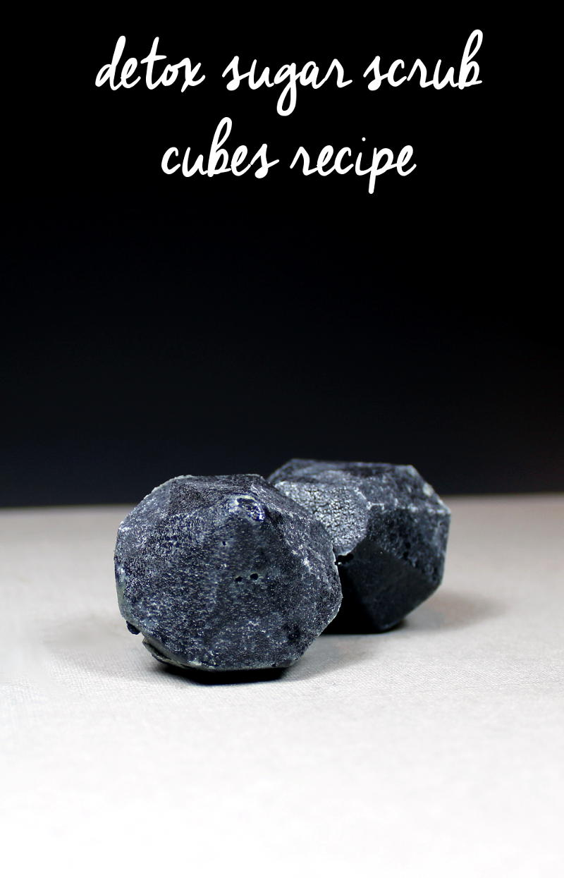 This detox sugar scrub recipe creates lovely solid sugar scrub shaped gems that contain activated charcoal to help keep skin acne free and vibrant!