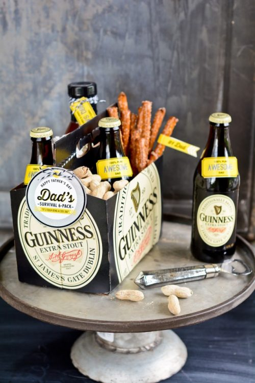 Dad's DIY Survival Six Pack - Whip up this easy survival six pack via CreativeLive blog that features free dad themed printables for everything you need to personalize some beers, snacks and maybe some of dad's favorite BBQ sauce!