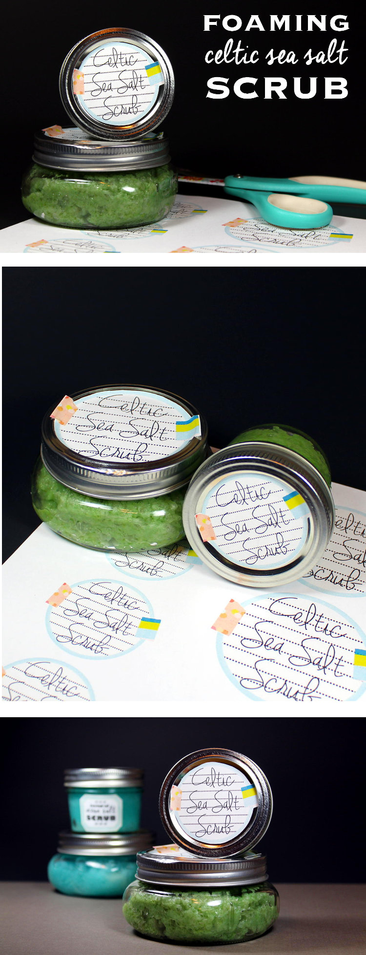 This foaming Celtic sea salt scrub recipe contains light grey Celtic sea salt to moisturize, revitalize, exfoliate, and detox skin and calm inflammation. Plus there are free printable labels for gifting!