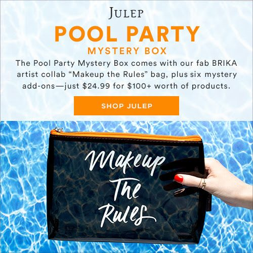 "Get $100+ of beauty surprises in the June Mystery Box for just $24.99! The Pool Party Mystery Box features a fabulous ""Makeup the Rules"" cosmetic bag (ideal for bringing your sunscreen & lip gloss to the pool or beach), plus SIX other mystery beauty or nail products - just $24.99 for $100+ worth of products."