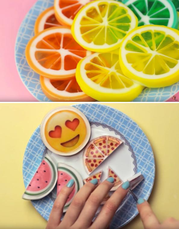 Fun DIY Soap Tutorials! Learn how to make your own DIY Lemon Slice Soaps and DIY Emoji Soaps with these fun DIY video soap tutorials from makoccino!