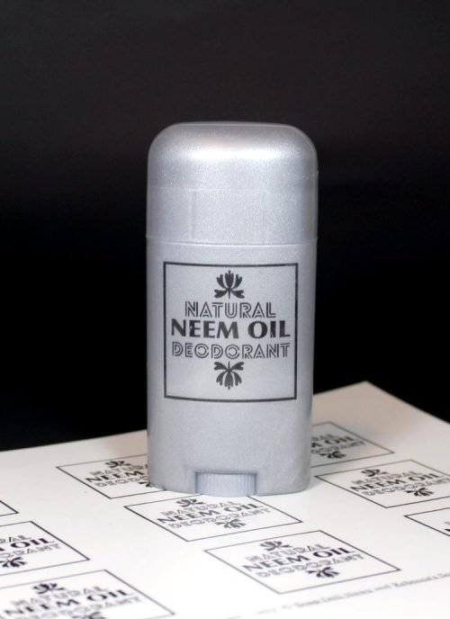This natural neem oil deodorant recipe is a no baking soda deodorant that won't irritate skin. Learn how to make your own plus choose from two awesome printable deodorant labels for your own no baking soda neem oil deodorant. Choose from a Star Wars inspired deodorant label for a Wook Control Stick or a basic Natural Neem Oil Deodorant label.