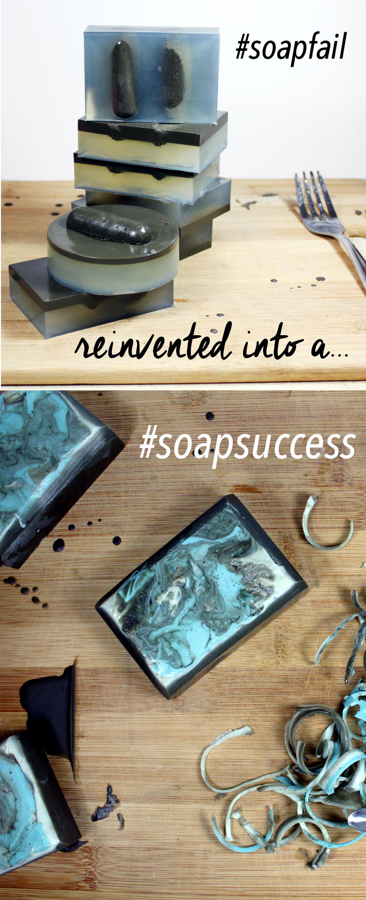As a crafter and soapmaker, there are absolutely those days when an idea for a soap recipe you have in your head, does not execute the way you thought it would. This was one of those projects. However, with a little creativity, I was able to turn a #soapfail into a #soapsuccess! Learn how I turned my #soapfail around and find out how to make your own melt and pour tea tree and sea mud soaps!