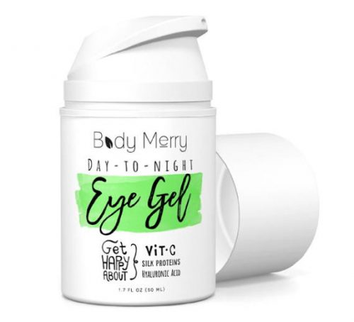 Body Merry Vitamin C Eye Gel Cream for Dark Circles and Puffiness // Best Anti-Aging Moisturizer with Natural Hyaluronic Acid and Matrixyl and Organic Aloe to Fight Wrinkles and Lines // PLUS learn how to make your own easy 3-ingredient DIY anti-puff eye roller!