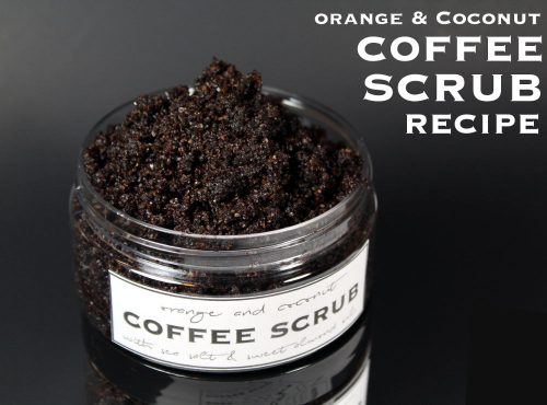 This homemade coffee scrub recipe without coconut oil is scented with a fresh blend of orange, coconut and cardamom and contains naturally emollient sweet almond oil, mineral rich pink Himalayan salt, anti-inflammatory blood orange essential oil, brown sugar, and ground coffee to exfoliate, smooth and brighten dull, aging or acne prone skin.