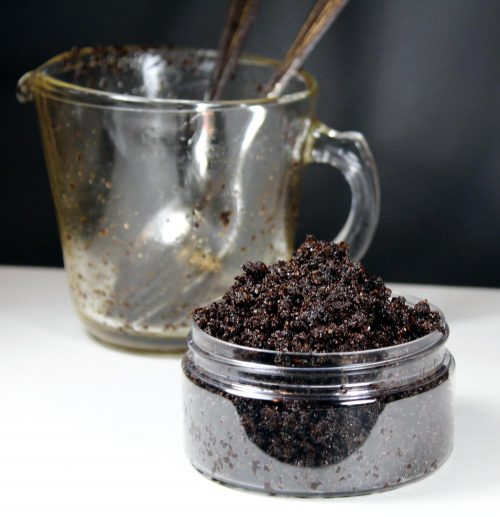 This homemade coffee scrub recipe without coconut oil is inspired by the Frank Body Original Coffee Scrub. Scented with a fresh blend of orange, coconut and cardamom, my coffee scrub recipe contains naturally emollient sweet almond oil, mineral rich pink Himalayan salt, anti-inflammatory blood orange essential oil, brown sugar, and ground coffee to exfoliate, smooth and brighten dull, aging or acne prone skin.