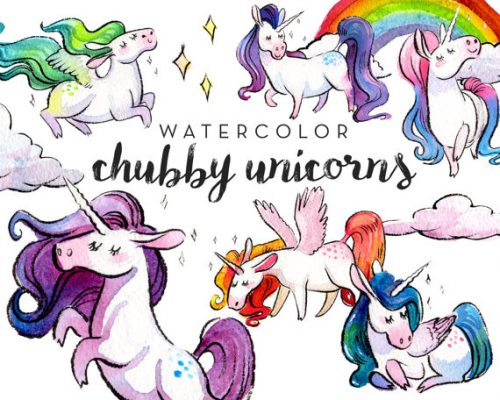 This Watercolor Chubby Unicorn Clipart by Antler and Twine is perfect for your DIY Unicorn Balm!