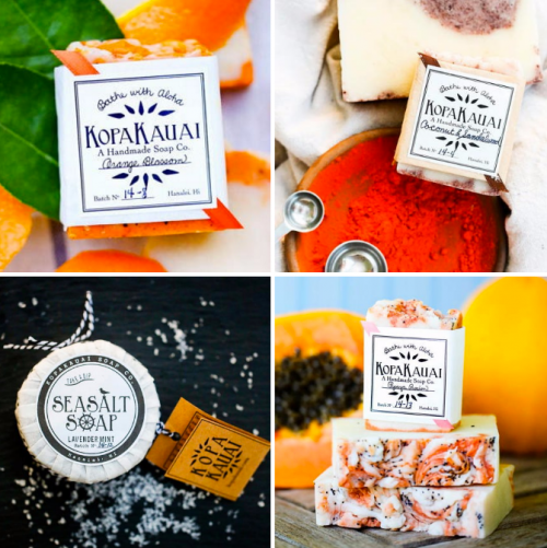 Kopa Kauai sells tropically inspired organic soaps handmade in Kauai, Hawaii that contain natural clay, seeds and other botanicals and are made with ingredients like shea butter, coconut oil and olive oil.