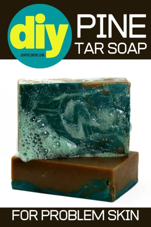 Pine tar soap recipe and its natural skin care benefits. Learn how to make a pine tar soap recipe for problem skin. A traditional remedy for relief of a variety of skin conditions including psoriasis, eczema, dandruff and skin inflammation, this cold process pine tar soap recipe also helps with common seasonal issues such as itchy bug bites and poison ivy. Learn how to craft your own natural pine tar soap recipe for your natural skin care routine. Cold process soap recipe for pine tar soap.