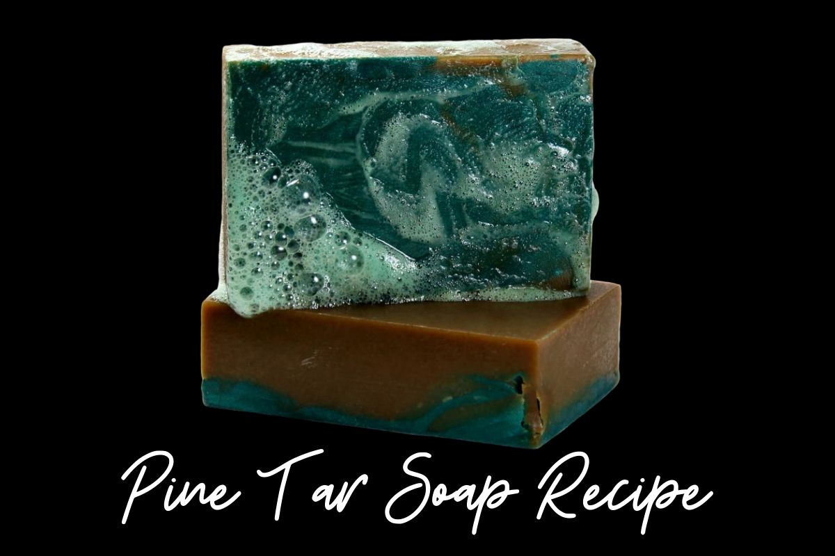 Pine tar soap recipe and its natural skin care benefits. Learn how to make pine tar soap recipe for its benefits for problem skin. A traditional remedy for relief of a variety of skin conditions including psoriasis, eczema, dandruff and skin inflammation, this cold process pine tar soap recipe also helps with common seasonal issues such as itchy bug bites and poison ivy. Learn how to craft your own natural pine tar soap recipe for your natural skin care routine. Cold process soap recipe. #soap