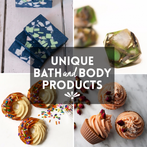 Sixteen unique bath and body products from four fantastic bath and body shops that offer a fun twist on skin care. Browse for inspiration or shop for unique homemade gifts!