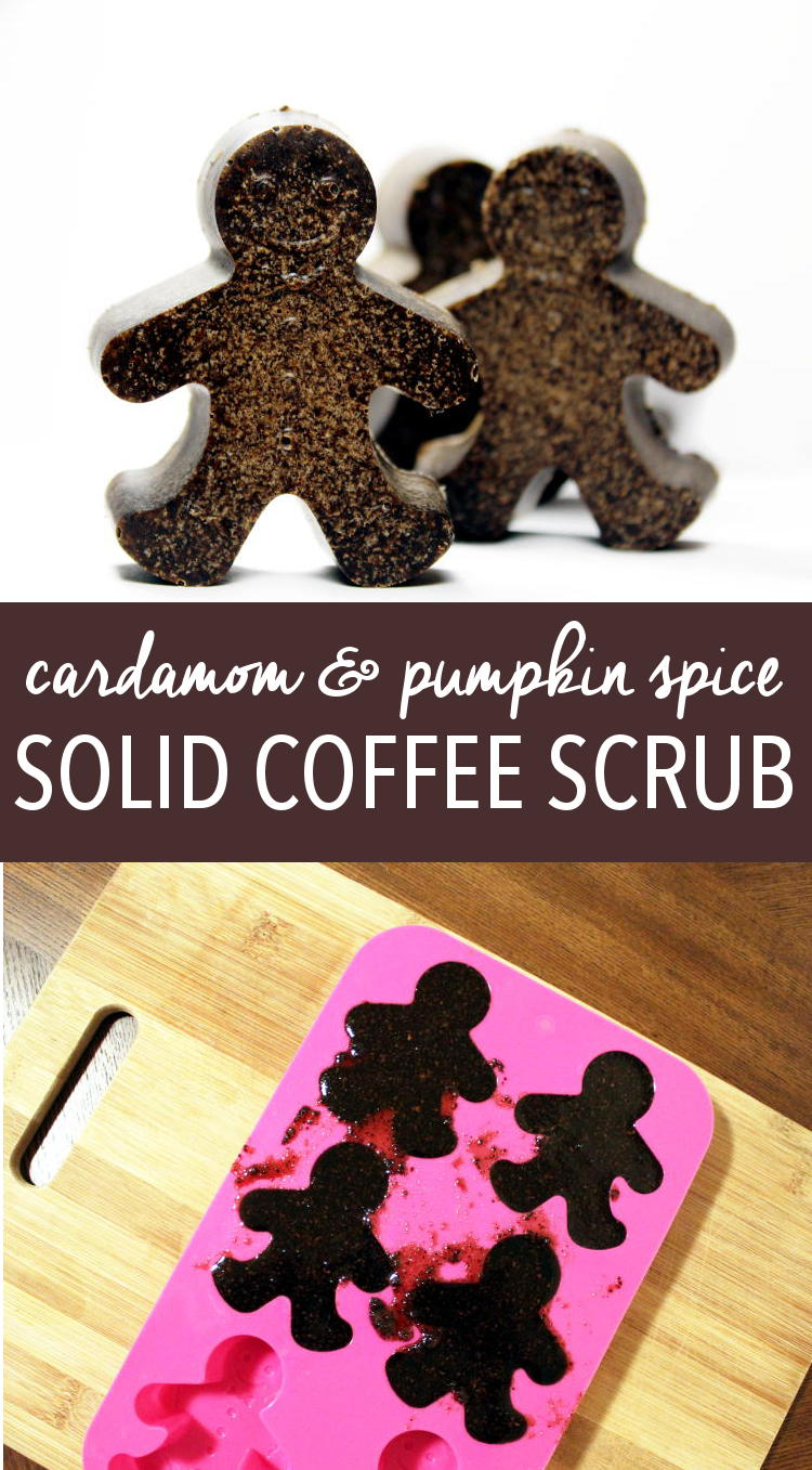 This cardamom and pumpkin spice solid coffee scrub recipe makes a wonderful holiday gift idea. It's made with real pumpkin spice coffee, exfoliating pink salt and sugar, and moisturizing cupuacu and cocoa butters to keep your skin glowing and looking healthy all winter long!