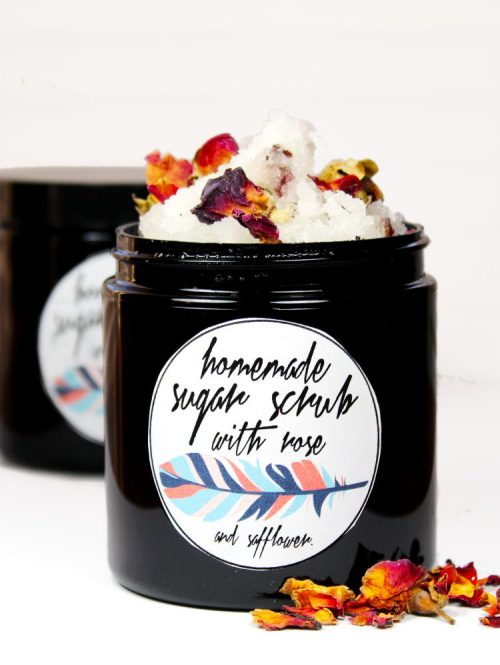 Learn how to make this easy DIY rose sugar scrub recipe for homemade gifts or simply to pamper yourself throughout the year. Made with dried rose petals and skin conditioning safflower oil, this easy four ingredient DIY rose sugar scrub combines simple yet luxurious ingredients your skin will love!