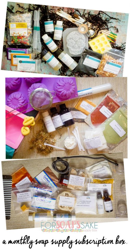 For Soap's Sake is a monthly soap supply subscription box that handpicks both unique and trending soapmaking supplies to send to you each and every month. The boxes included a variety of soapmaking supplies including molds, tools, ingredients, colorants, fragrances, and essential oils. And while monthly box subscriptions are available, you also have the option simply making a one time only box purchase.