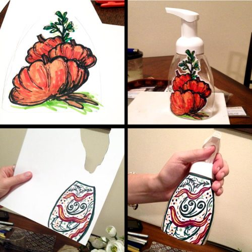 Hand draw labels for your holiday foaming hand soap pump containers to give as homemade gifts!