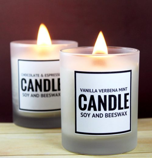 Learn how to make this vanilla verbena and peppermint scented DIY soy and beeswax candle - plus two more candle recipes! - to give as gifts this holiday season! There are even free printable labels to make gifting even easier! These are great gifts for teachers, coworkers and friends!