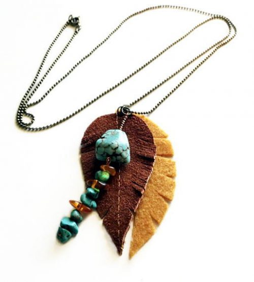 Leather and felt feather necklace with turquoise and baltic amber beads by Witty Fox Craftworks