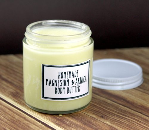 This homemade magnesium and arnica body butter recipe is scented with a delightful lavender and orange fragrance and is great for everyday aches, pains and bruises.