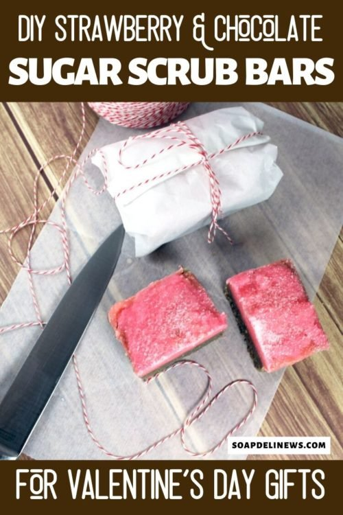 Strawberry & Chocolate Solid Sugar Scrub Bar Recipe for Valentine's Day. Learn how to make homemade Valentine's Day gifts with this solid sugar scrub bar recipe. A sweet treat for DIY Valentine's Day gifts, these strawberry & chocolate solid sugar scrub bars resemble fudge. They make a delightful homemade gift idea for her to exfoliate and hydrate dry winter skin as part of any natural beauty regimen for winter skin care. Make fantastic treats for your skin with this easy bath and body recipe.