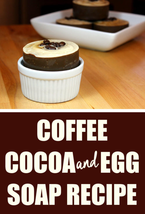 Coffee & Cocoa Egg Soap Recipe. An easy egg yolk soap recipe for natural skin care. This homemade coffee and cocoa soap recipe is made with fresh strong brewed coffee, unsweetened cocoa powder and an entire egg for a luxurious feeling soap with a rich, thick lather. Plus it's palm free! Learn how to make this cold process soap recipe to use as part of your skin care routine for natural beauty. The perfect hydrating homemade soap recipe for dry skin relief or for sensitive skin. #eggsoaprecipe