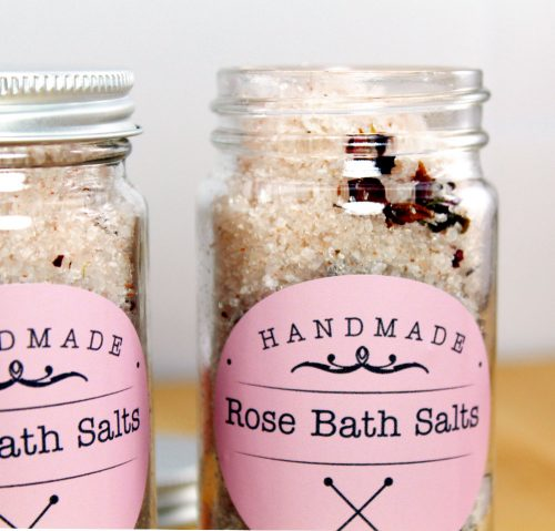 Learn how to make this natural rose bath salts recipe plus two more amazing DIY bath and body Valentine's gifts with a little help from StickerYou!