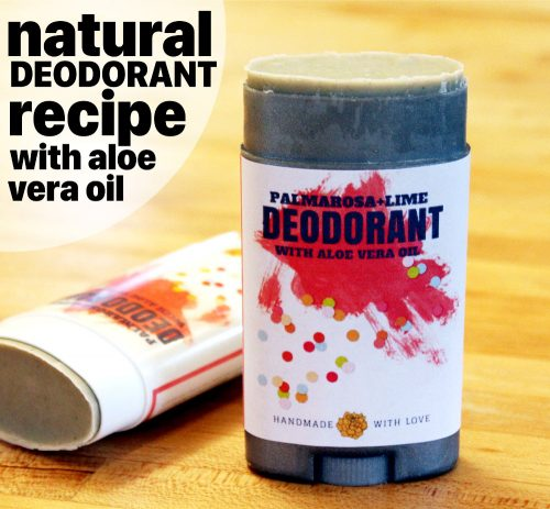 This palmarosa and lime natural deodorant recipe with aloe vera really works! Made with arrowroot powder, magnesium hydroxide and bentonite clay, this no baking soda natural deodorant recipe won't irritate sensitive skin. Palmarosa and lime essential oils combine for a fresh scent and help to fight odor causing bacteria.