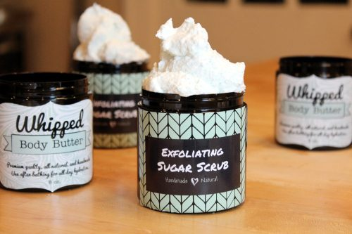 Learn how to make these amazing DIY skin care products! Recipes for making your own rich whipped body butter souffle and exfoliating whipped sugar scrub! Plus discover beautiful waterproof vinyl labels from StickerYou!
