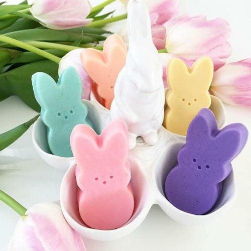 Peep inspired Easter Bunny Soaps by Sunbasilgarden Soap