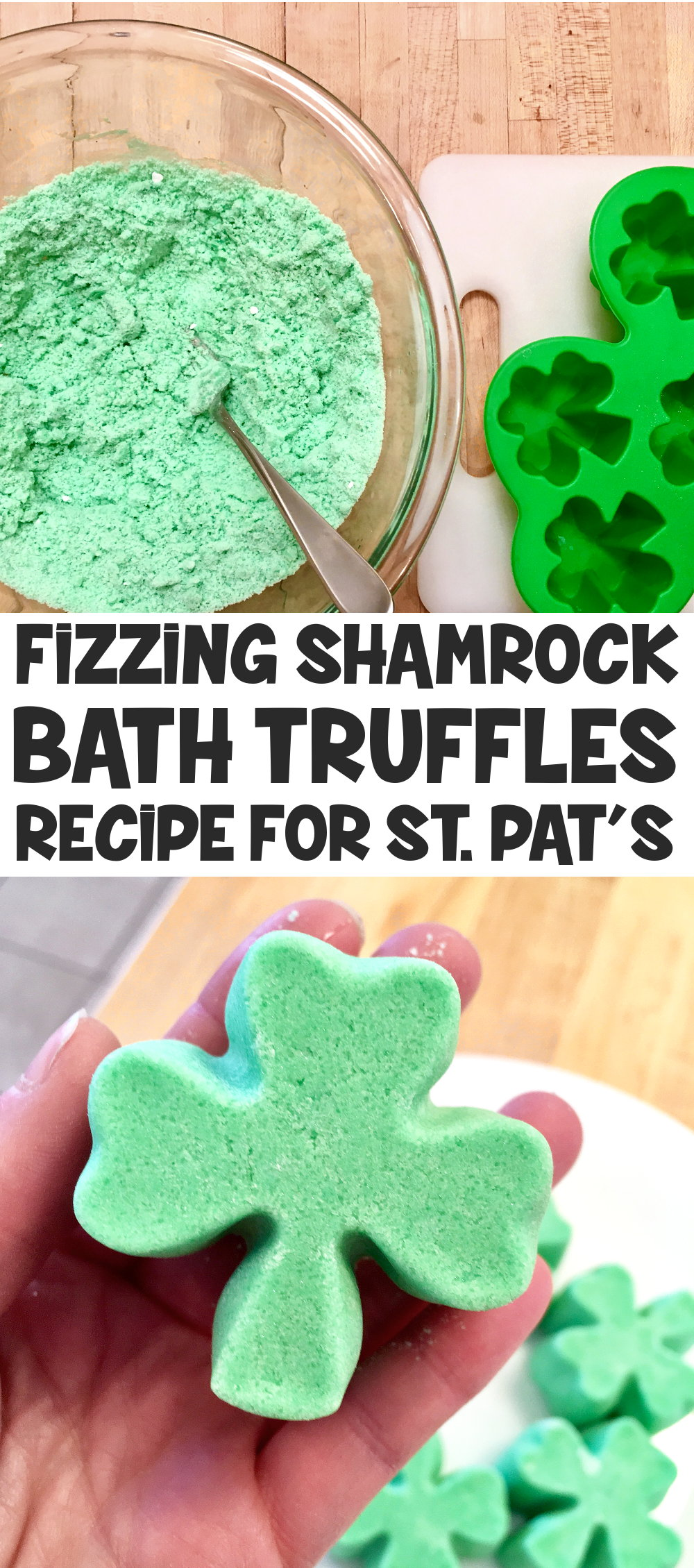 Learn how to make this fizzing shamrock bath truffles recipe for St. Patrick's Day! This easy fizzing shamrock bath truffles recipe creates a fizzy bath truffle that adds moisturizing cocoa butter to your bath water along with bubbles. Plus it's easy to remove from a silicone mold in one piece!