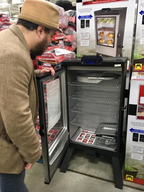 James shopping for an electric smoker for a cookout & cocktail party!