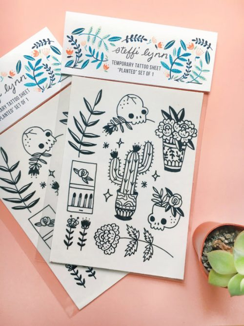 """Planted"" Flash Temporary Tattoos by Steffi Lynn of Have a Nice Day Out of Brooklyn, NY"