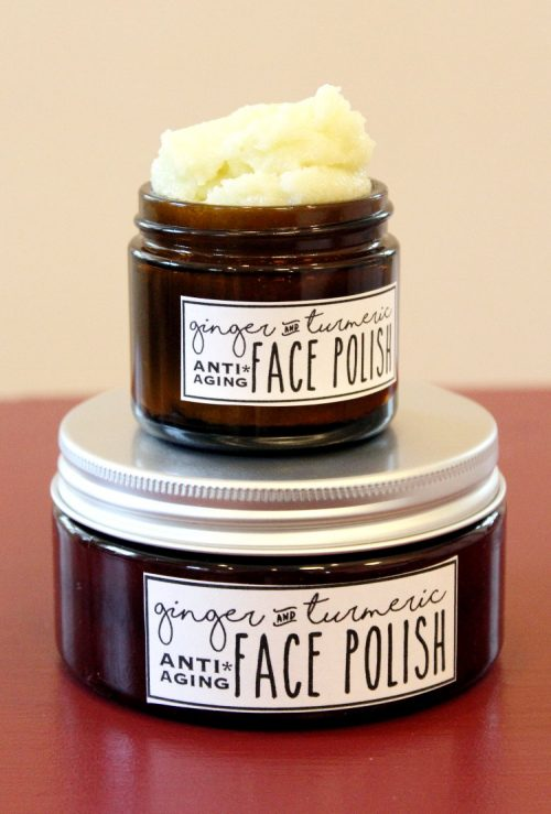 Anti Aging Skin Care Recipes! This foaming ginger & turmeric face polish recipe is wonderful for maturing skin and is crafted with a blend of natural carrier & essential oils prized for their antioxidant and anti-aging properties. #antiaging #beauty #diy #skincare #facepolish #facescrub #turmeric #ginger #sugarscrub #recipe