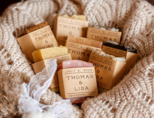 Medium 2.3 oz. soap wedding favors from Rustic Joy Soap. These handmade artisan soaps are available in your choice of colors and scents.