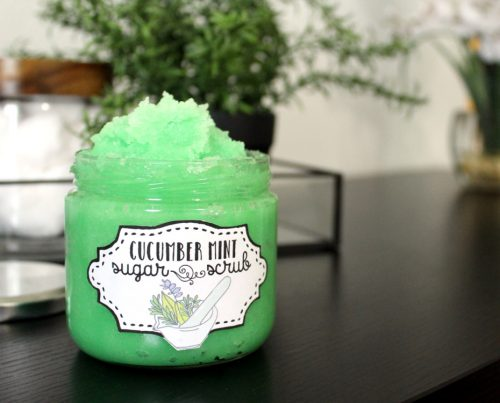 Cucumber Mint Sugar Scrub Recipe! This cucumber mint sugar scrub recipe is made with ingredients skin loves like cucumber seed oil and aloe and has a refreshing cucumber mint fragrance. Because it's emulsified it doesn't feel oily on skin - making it the perfect option for exfoliating skin this summer! It's so easy to create and makes a great homemade gift too!
