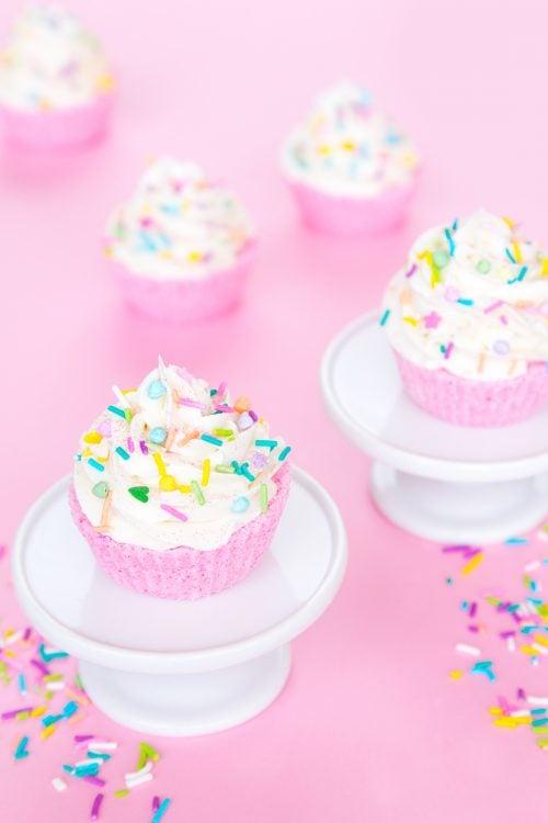 DIY Glitter Cupcake Bath Bombs via Aww Sam blog! These DIY glitter cupcake bath bombs are easier to make than you might think and make bath time more fun for everyone!