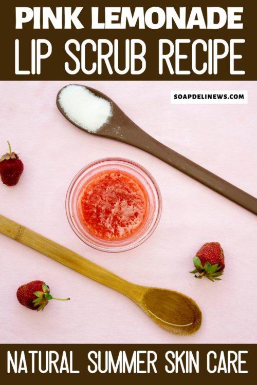 Homemade pink lemonade lip scrub with sugar