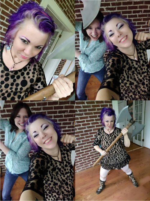 Party selfie prop ideas! This battle ax was the most fun for memorable party photographs!