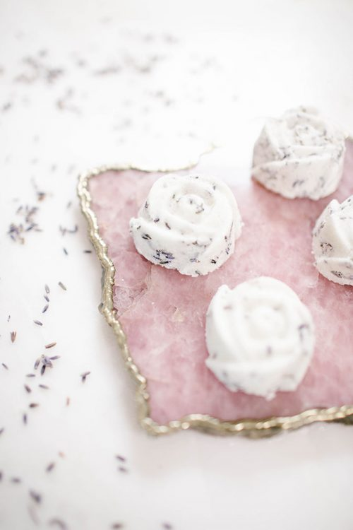 These DIY Rose + Lavender Bath Bombs via Lauren Conrad make a lovely homemade Mother's Day gift!