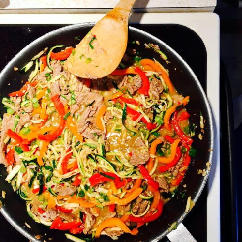 Szechuan Beef Zoodles Recipe from Kathy's Kitchen