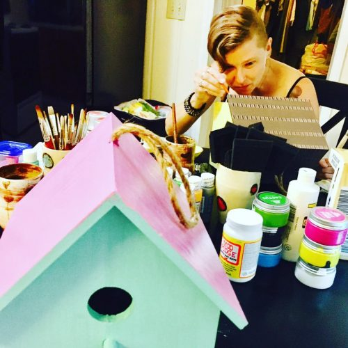 Craft & Cocktail Night! Painting wooden birdhouses.