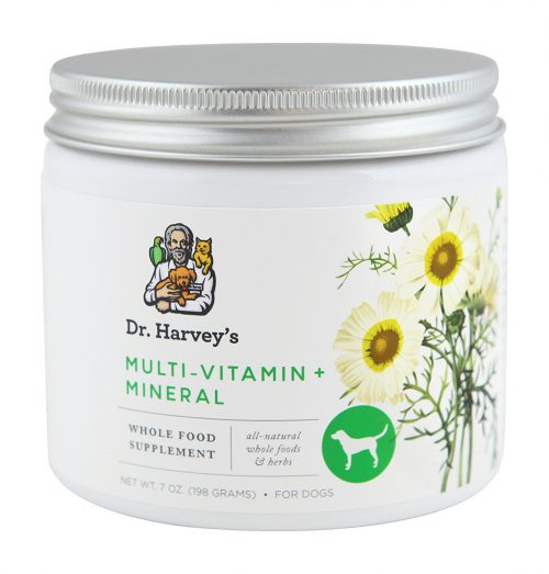 Dr. Harvey's Herbal Multi-Vitamin + Mineral Supplement for Dogs! This powdered whole food multi-vitamin is made in the USA with no synthetic ingredients of any kind. Simply add powder to your dog's food daily to encourage optimal health! My dog LOVES this stuff!