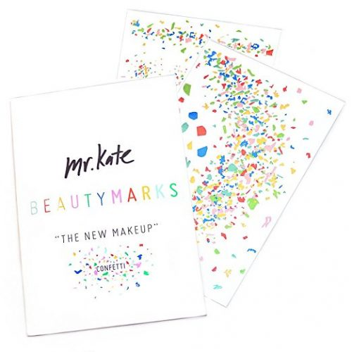 Mr. Kate BeautyMarks Confetti Temporary Tattoos! All of the confetti designs are made from actual photographs of sprinkled confetti for a realistic look. In addition they are arranged in big and small metallic flakes so you can let your personal creativity shine through. Simply apply the metallic confetti designs the same way you would temporary tattoos then remove at any time with body oil.