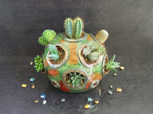 A beautiful handmade ceramic cactus planter from Federico Becchetti Art!