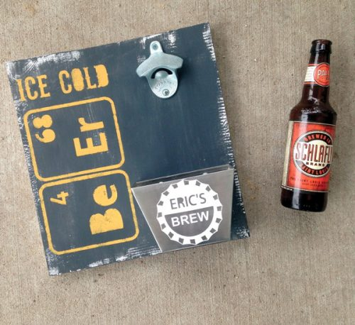 DIY Father's Day Gift! Craft this DIY Beer Bottle Opener Sign via Dawn Nicole Designs and gift Dad a practical DIY Father's Day gift that he can use year round!