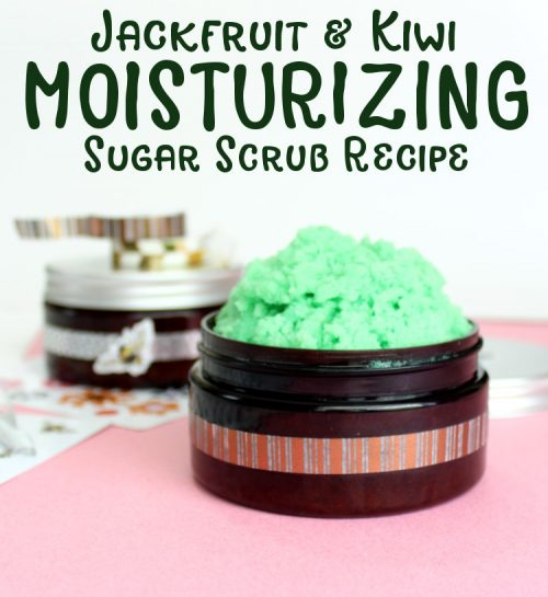 This homemade moisturizing sugar scrub recipe is formulated for exceptionally dry skin. Made using luxurious and richly hydrating moringa oil and skin soothing oat butter, this moisturizing sugar scrub can help to calm and soothe dry, itchy skin and inflammation. And it's scented with a jackfruit & kiwi fragrance oil for a to-die-for tropical fruit fragrance that's perfect for summer.