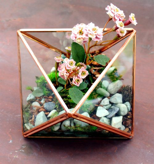 DIY geometric glass terrarium! Learn how to create your own DIY geometric glass terrarium filled with faux plants! This easy tutorial will walk you through the steps to creating your own unique terrarium arrangement for your next home accent piece - all without the worry of watering and maintaining your plants.