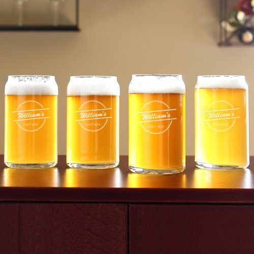 These personalized home brew can glasses make a great personalized gift for Father's Day!