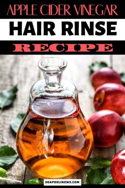 Natural apple cider vinegar hair rinse recipe for shiny hair. Apple Cider Vinegar is perfect for healthy looking hair. Throw in some herbal yerba mate and get a natural hair care recipe that can also deter hair graying! Learn how to make a DIY Apple Cider Vinegar Hair Rinse for your natural hair care routine. Plus learn about the benefits of apple cider vinegar ACV for hair care. A must try homemade hair care beauty hack for beautiful, healthy looking hair with shine.