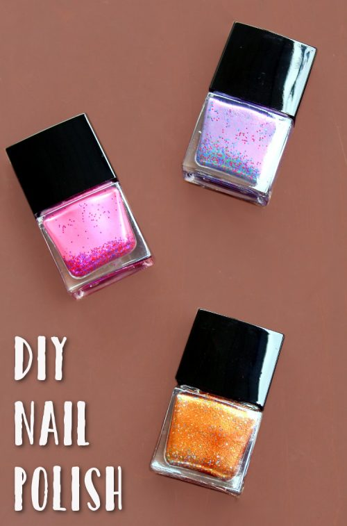 DIY Nail Polish! Learn how to make DIY nail polish in custom colors using mica pigments and glitter! A wonderful DIY project for a Craft & Cocktail night with friends!