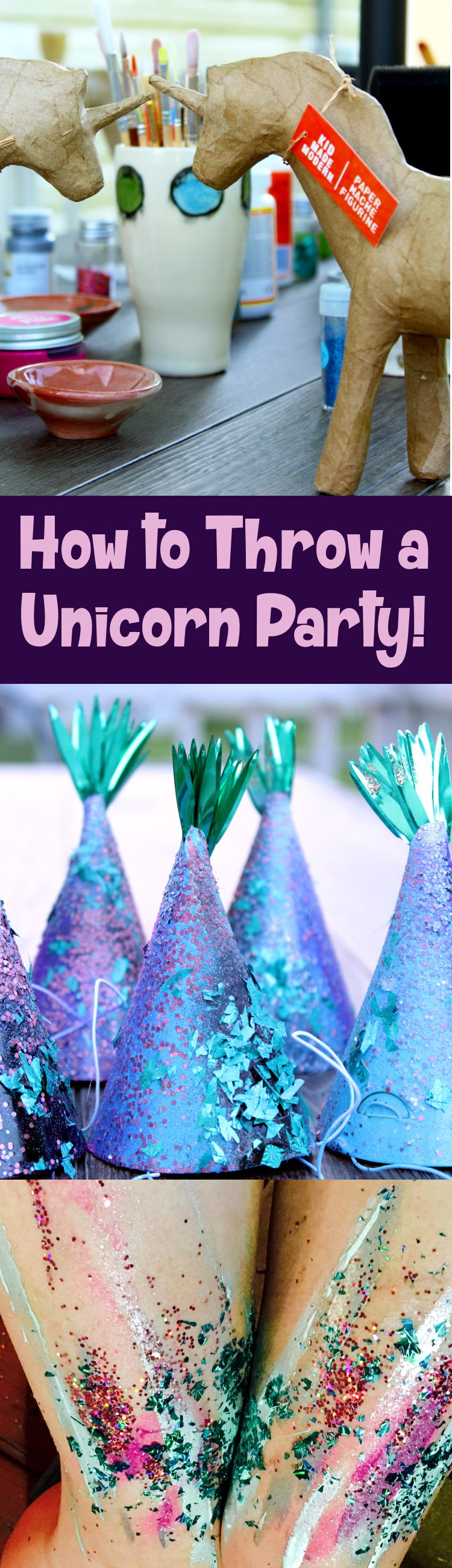 Unicorn Party Ideas! How to throw a unicorn party! Pair a paint your own unicorn paint project with fun DIY unicorn party hats and unicorn party favors for a magical event!